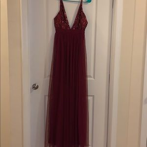Red sequin long dress